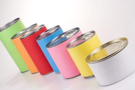 anonym: A line of colored cans with anonym labels Stock Photo