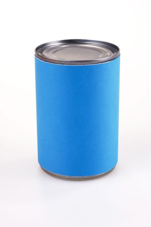 Close up shot of a blue anonymous tin can