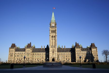 Front view of the Canadian Parliament building , with nobody showing