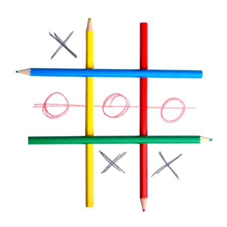 Game in tic-tac-toe. A cage from pencils