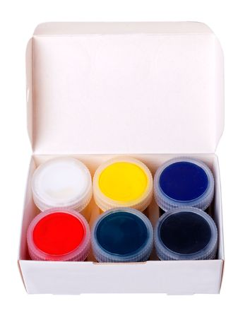 Multicolored paints in containers with lids (isolated) Stock Photo - 4393632