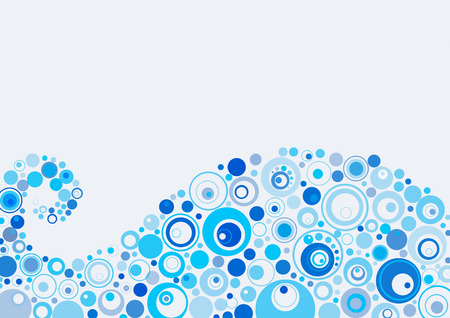 Abstract background of a wave from blue circles