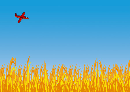 Airplane over the field in the blue sky Vector