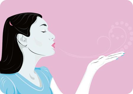 air kiss: Air kiss, black, white, blue and pink colors