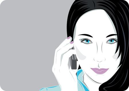 donna con telefono: Donna parla sul telefono cellulare con copia spazio