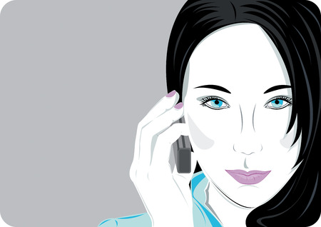 business woman phone: Woman speaks on the mobile phone with copy space