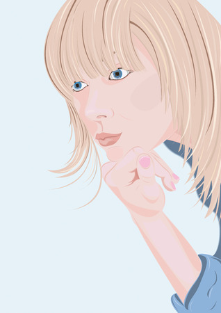 Thinking woman on a blue background Vector