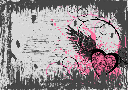 Dirty grunge heart abstract background Vector