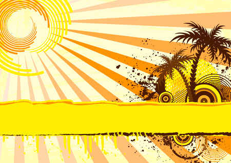 Grunge palm trees under the sun Vector