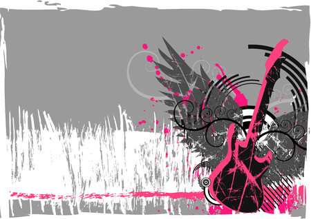 Guitar and wings grunge abstract background Illustration