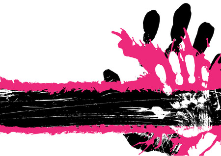 Hand print grunge background with copy space Vector