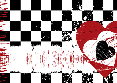 Red heart grunge abstract background with copy space Ilustração