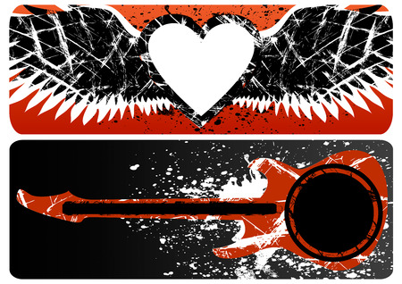 Abstract backgrounds heart and guitar with copy space