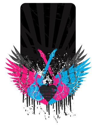 Grunge frame with wings and guitars and copy space Vector