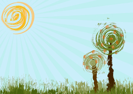 Two trees, the sun, plant and copy space Illustration