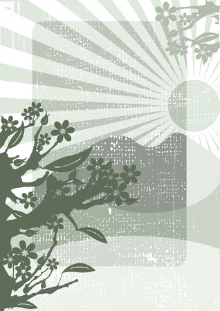 Chinese grunge background from trees and flowers Vector