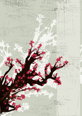 Japanese grunge background from tree and flowers Vector