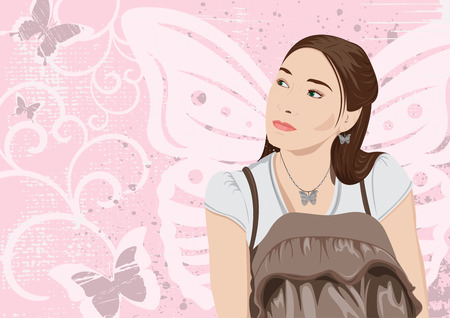 Butterfly girl with copy space