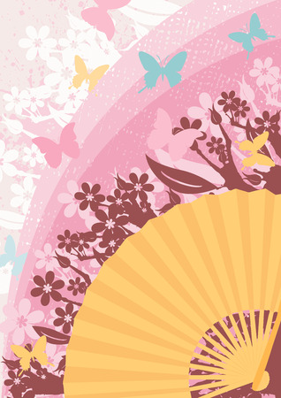 Asian fan abstract background with butterfly Ilustração