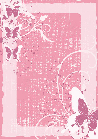 Floral grunge background from butterfly and flowers