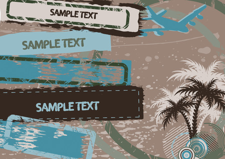 Palm, aircraft and frames with copy space Vector