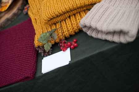 Knitted cap and snuff on the table