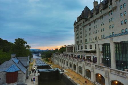 Canal Locks in Ottawa, Ontario, Canada at sunset photo