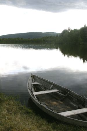 Mountain Lake with Boat photo