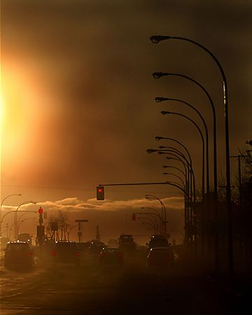 A pollution filled street in saskatoon, saskatchewan, canada photo