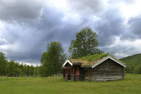 A norwegian mountain cabin (hytte) near roros r�ros tolga Stock Photo - 207520