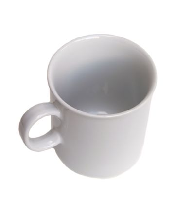 quenching: white coffee mug isolated on white viewed from the top Stock Photo