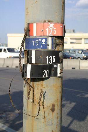 metal post: Metal signs on a metal post