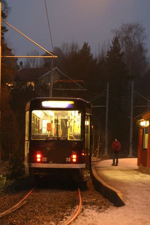 trolly: Street car in the evening at the station