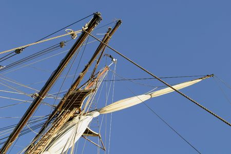 Tall ship detail with sky in the background