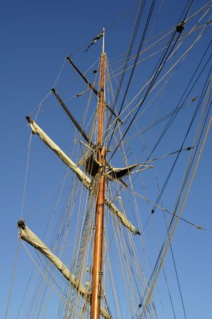 middle ages boat: Tall ship square mast detail Stock Photo