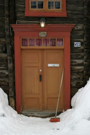 Vintage wooden door in Norway. photo