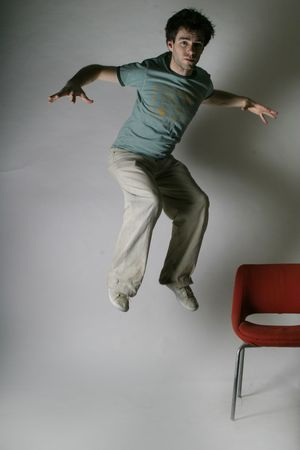 A male is jumping in fright Stock Photo - 261057