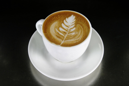 latte art: Cappuccino with latte art Stock Photo