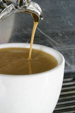 americano: Double Americano being drawn from a professional espresso machine