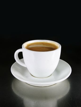 Double Americano in a white coffee cup photo