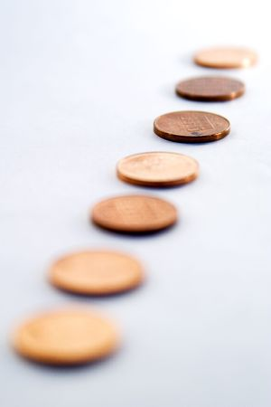 cent: Row of norwegian 50 cent pieces, �re, with a shallow depth of field Stock Photo