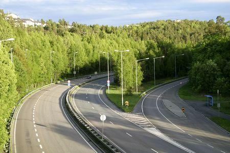 fredrikstad: E18 going from Fredrikstad Oslo, Norway Stock Photo