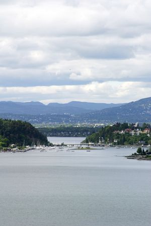 Oslo Fjord in early summer viewed form Ljan train station. photo