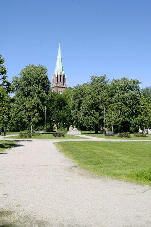 fredrikstad: Fredrikstad Dome Church with trees surrounding it Stock Photo