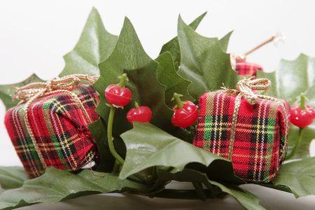 tacky: Mistletoe and Presents Christmas Decoration Stock Photo