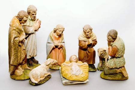 displaying: Full nativity scene displaying Commercialism vs Christmas