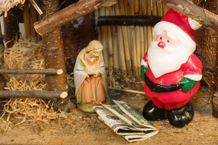 kris: Commercialism vs Christmas Mary Santa and Christ