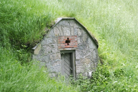 Doorway into a hill in Gamlebyen Fredrikstad Norway photo