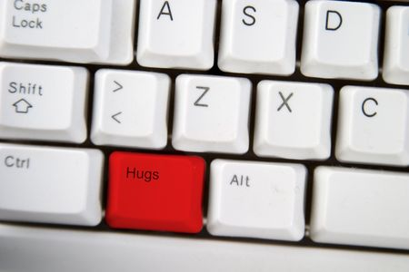 computer keyboard key with the word hug on it highlighted in red Stock Photo - 265203