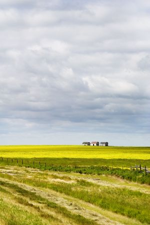 Prairie Landscape with some old granaries in the distance. Stock Photo